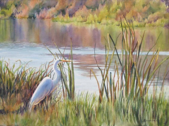 landscape art, egret in a marsh, marsh painting, watercolor art print
