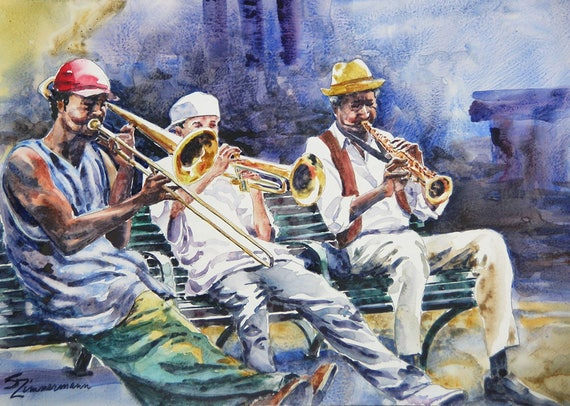 New Orleans street musicians, jazz, brass band watercolor art print