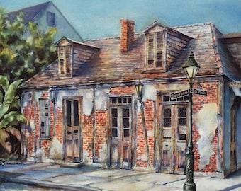 Lafitte's Blacksmith Shop, historic building New Orleans French Quarter, art print watercolor painting