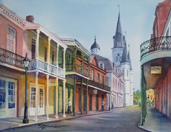 original watercolor painting, French Quarter, New Orleans, historic buildings, St. Louis Cathedral