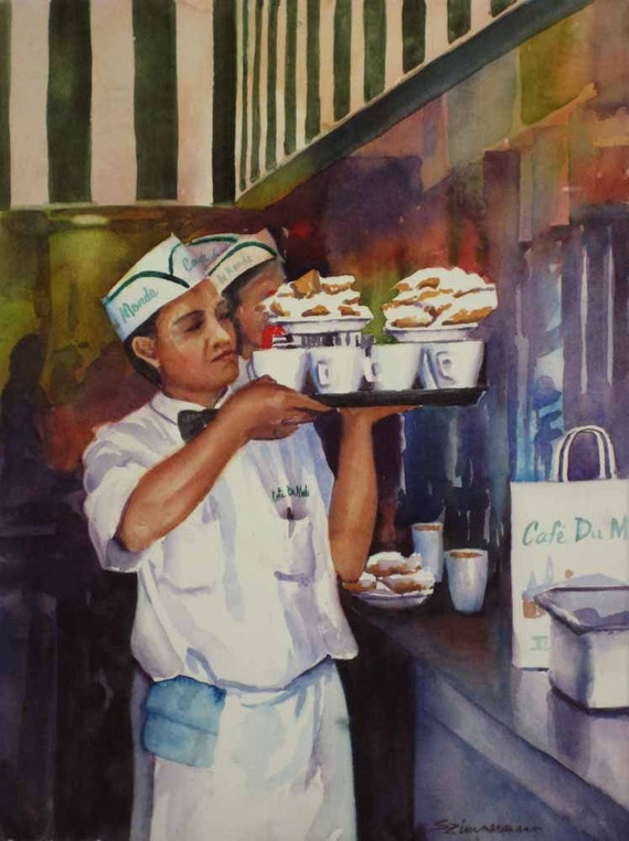 Cafe du Monde cafe au lait, beignets New Orleans French Quarter watercolor art print