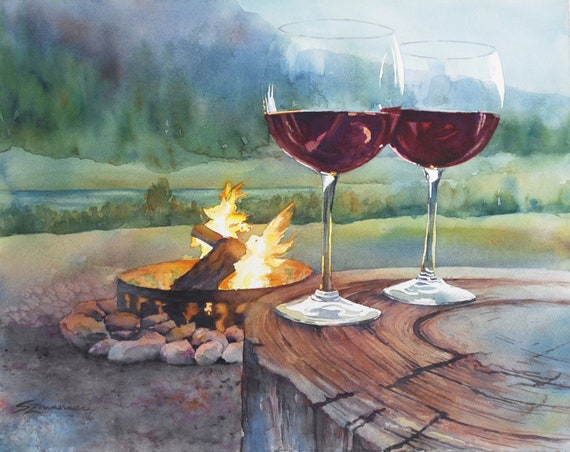 Toasting the great outdoors with wine by a campfire in the mountains watercolor landscape art print