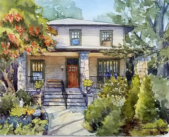 House portrait, 8x10 original watercolor house painting, real estate closing gift, family heirloom