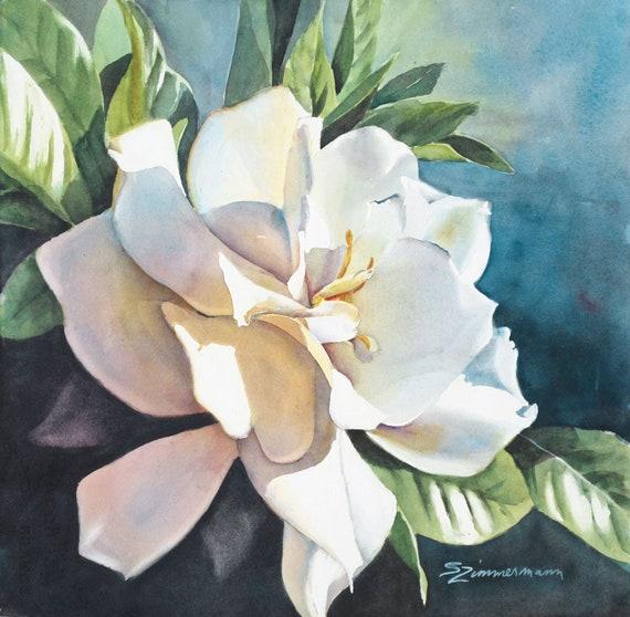 Gardenia, Floral, watercolor print