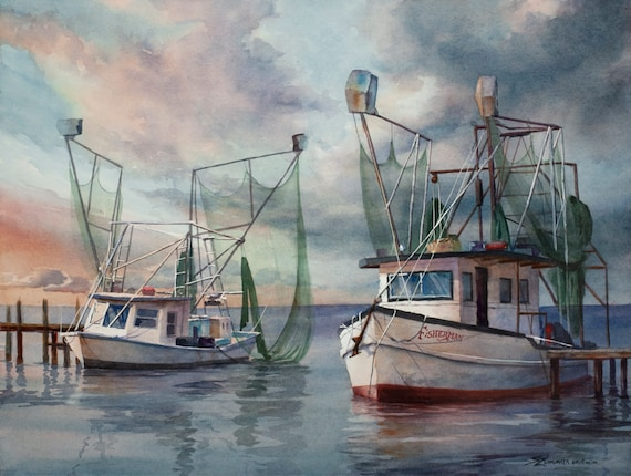 The Fisherman, original watercolor