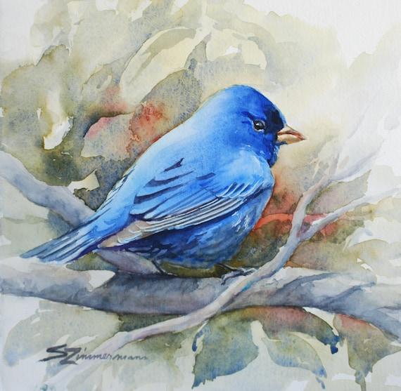 Indigo Bunting, blue bird, bird lovers watercolor print