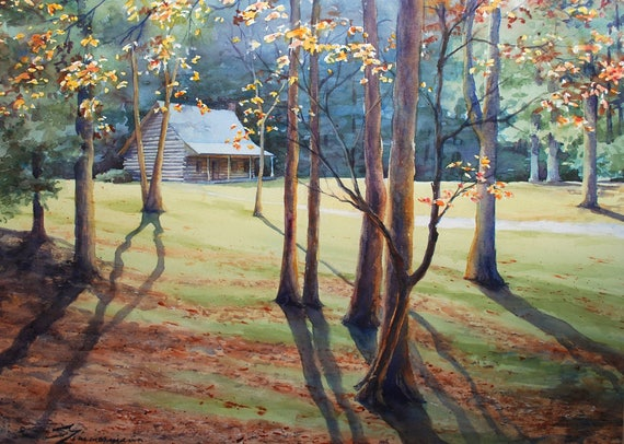 Tennessee mountain cabin landscape with autumn trees, watercolor art print
