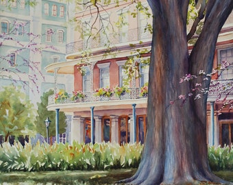 Historic architecture New Orleans French Quarter watercolor art print