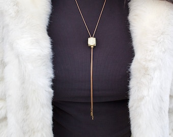 Stone Bolo Tie | PRISM Green Stone Necklace, Brass Snake Chain Necklace, Adjustable Necklace