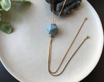 Geometric Bolo Tie | HEX Silicone Bead Necklace, Snake Chain Necklace, Adjustable Jewelry