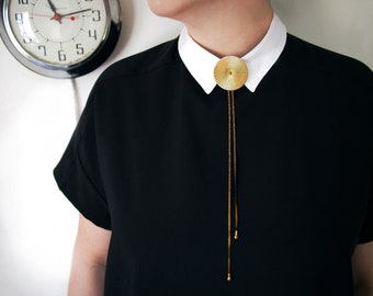 TROLLOP Bolo Tie Necklace with a Large Brass Medallion and Barrel Bolo Tips