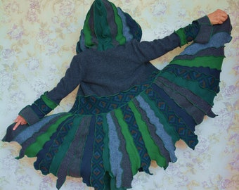 Nightshade- Katwise inspired upcycled sweater coat, Recycled fashion, Pixie coat, Upcycled patchwork, Small