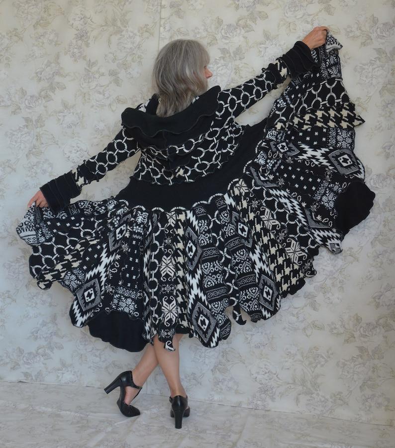 Upcycled sweater coat One of a Kind Recycled fashion Laridae- Katwise inspired Festival coat