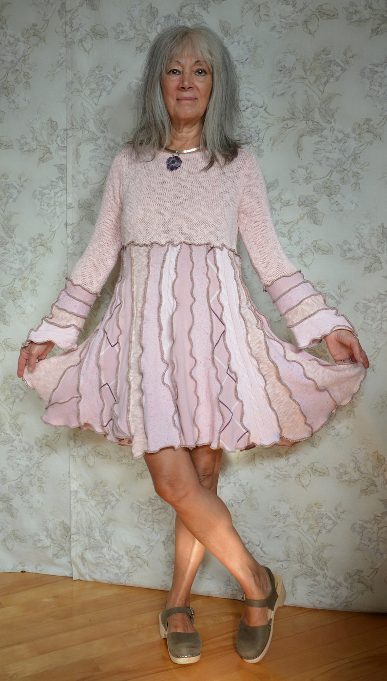 recycled fashion Peony- Soft pink cotton dress upcycled sweater Small