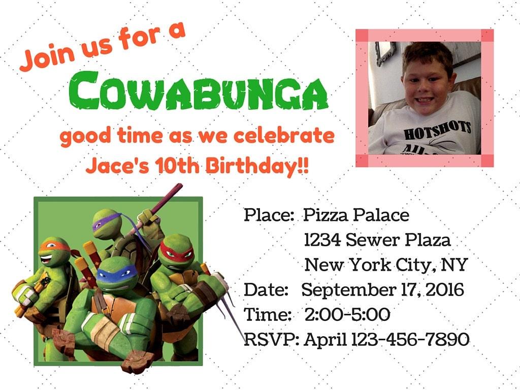 Teenage Mutant Ninja Turtle Birthday Invitation PDF JPG file   Etsy