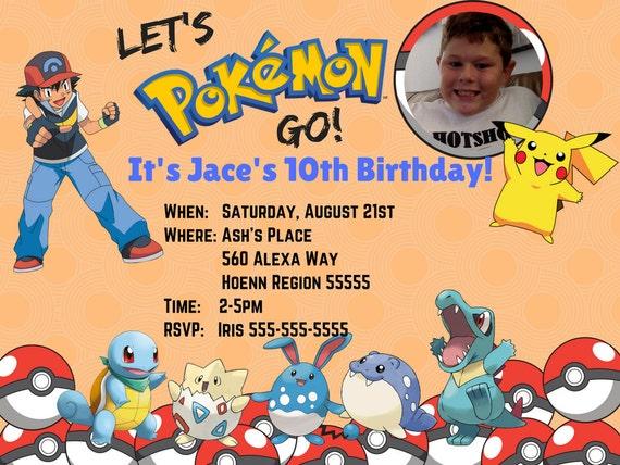 Pokemon Birthday Invitation Party
