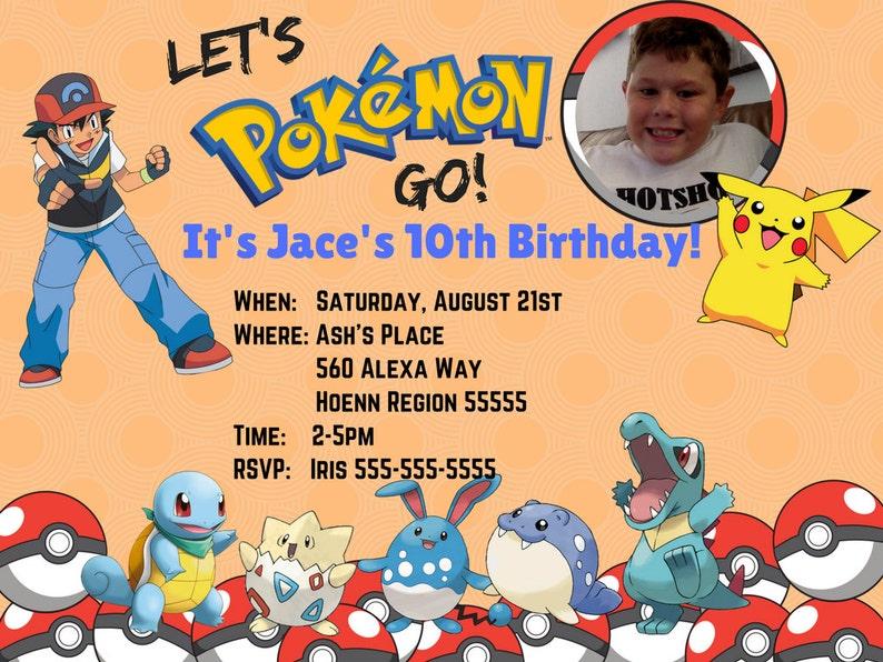 Pokemon Birthday Invitation Party Print At Home Digital JPEG Format