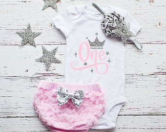 First Birthday Outfit Girl, Pink and Silver 1st Birthday Outfit, Cake Smash Outfit, First Birthday Shirt, Birthday Shirt 1,