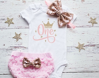 1st Birthday Outfit Girl  Pink and Gold Birthday Outfit, baby girl 1st birthday outfit, Cake Smash Outfit, Baby Girl Birthday Shirt Bodysuit