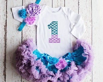 First Birthday Outfit, Baby Girl 1st Birthday Outfit, Mermaid Birthday Outfit, Baby Girl First Birthday Outfit, Cake Smash Outfit