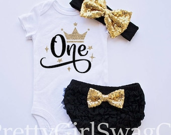 First Birthday Girl Outfit, Girl 1st Birthday Outfit, Black Gold Birthday, Cake Smash Outfit, Birthday Shirt Girl, Birthday Outfit 1