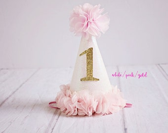 1st Birthday Hat First Baby Girl Gold Pink