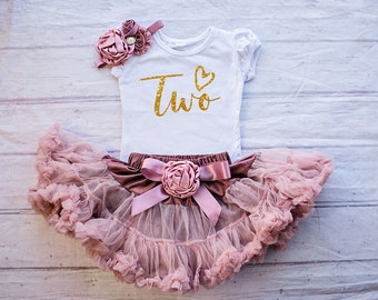 af0ad9491 2nd Birthday Outfit Girl, Mauve Tutu Skirt, Gold Two Shirt, Headband, Second  Birthday, Gift for little Girls, 1st, 2nd, 3rd, 4th, 5th