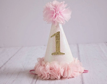 1st Birthday Hat Girl Outfit Baby Party First White Gold