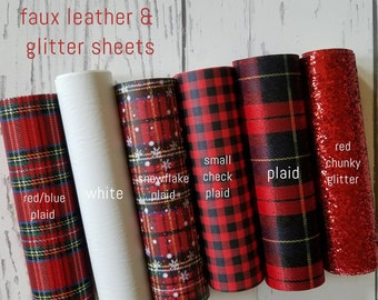 faux Leather Sheets Christmas leather Tartan Plaid small check buffalo plaid Snowflake Plaid Red Chunky Glitter Material DIY earrings bows