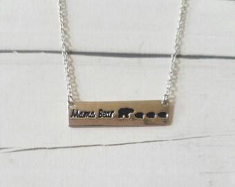 Mama Bear Necklace, Momma Bear Necklace, Mama Bear Bar Silver Necklace, Mom to Be gift, Mama one cub, Moma Bear, Mama Bear Jewelry 3 cubs
