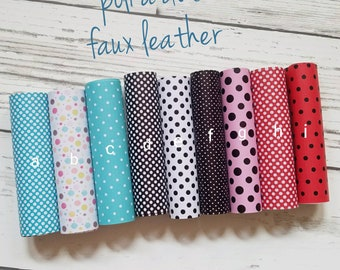 428680d2cd4 Leather Sheets POLKA DOT leather faux leather leather bow making material  teardrop earring leather crafting teal white black dots   more