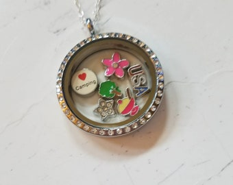 Key and Sun Camper TravelRV Theme Cyan Floating Locket Charm with 20 silver chain Luggage