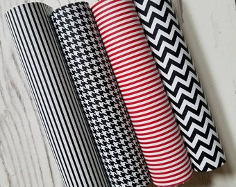 faux Leather Sheets Black White Stripe leather Red and White 8x11 earring leather Hair Bows Chevron leather craft leather Houndstooth