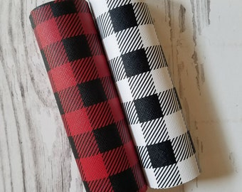 faux Leather Sheets Large Black & Red BUFFALO PLAID Black White Check leather 8x11 craft leather bow material leather sheet for earrings