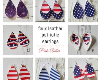 b3d20688e8034 Leather Earrings Faux leather earrings Teardrop Patriotic Earrings Red