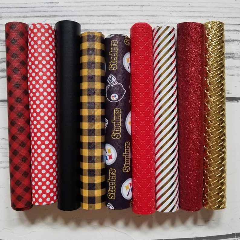 faux Leather Sheets Steelers fake to make earrings bow sports stripes die cut crafts Football Pittsburgh flatback polka dots buffalo plaid