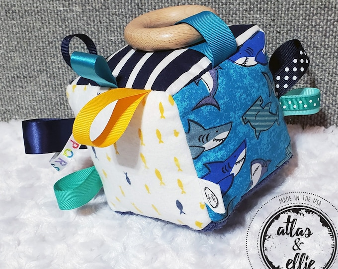Featured listing image: Unisex Sensory Activity Toy for Babies, Each side has textures and prints to enhance your baby's senses! A great toy for tummy time and more