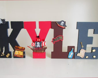 Hand Painted Pirate Letters, Kids Room Letters For Boys, Kids Wall Letters,  Pirate Birthday Props, Pirate Boys Room Decor
