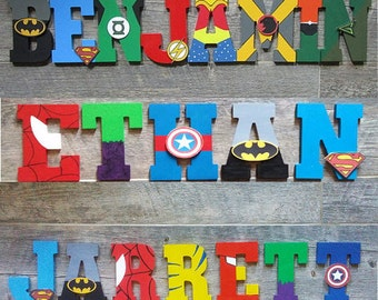 Lovely Hand Painted Superhero Letters For Kids Room, Nursery Decor, Kids Marvel  Wall Art, Superhero Decor Gifts, Boys Room Decorations