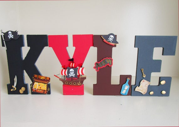 Hand Painted Pirate Letters Kids Room Letters For Boys Kids | Etsy