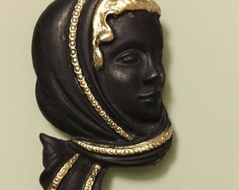 Vintage Art Deco Style Lady with scarf brooch