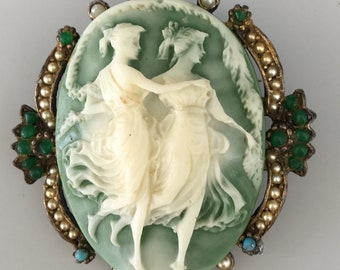 Vintage Two dancing  Ladies Cameo Pendant &  Brooch i