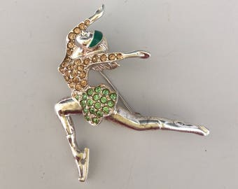 Vintage signed Monet figural ice dancer brooch