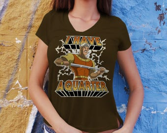 I Have A Quarter - Hawkins Arcade LADIES Slim FIT T-Shirt -  1980's Dragon's Lair Game Parody Clothing