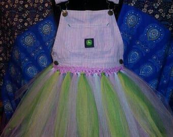 Pink John Deere overall tutu dress 3t