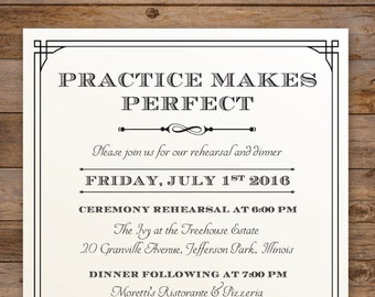 The Lauren, Rehearsal Dinner Invitation - Elegant and Traditional with beautiful Typography - DIY - Print at home!