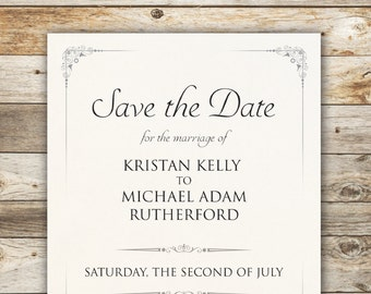 The Kristan, Save the Date - Elegant and Traditional Save The Date with beautiful Typography - DIY - Print at home!