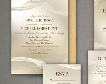 The Nicole - Elegant, Classic and Traditional Wedding Invitation Set with fabric background - DIY - Print at home Invitation Suite!