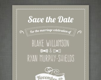 The Blake, Save The Date - Cool, Unique and Simple, Elegant and Modern — Print at Home - DIY! Traditional yet Modern Suite.