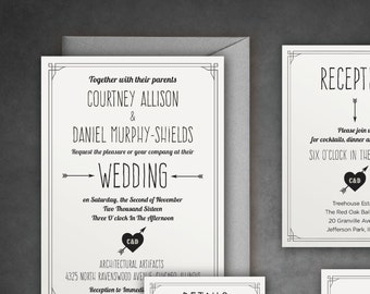 The Courtney — Unique and Sophisticated Wedding Invitation Set with Cool Border — Print at Home - DIY! Traditional yet Modern Suite.
